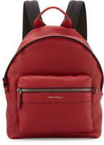 Salvatore Ferragamo Men's Firenze Men's Grained Leather Backpack, Red