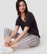 LOFT Petite Striped Cropped Skinny Chinos