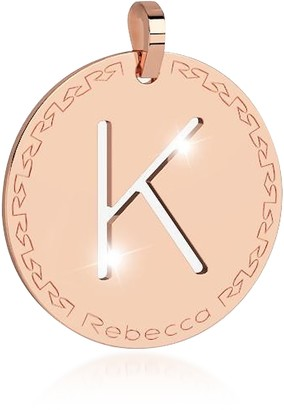 Rebecca Rose Gold-plated Bronze K Charm W/Rhodium-plated Necklace