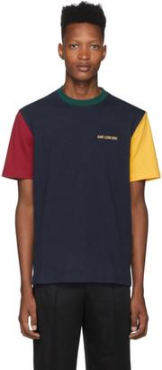 Aimé Leon Dore Navy and Yellow Colorblocked Logo T-Shirt