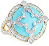 Jude Frances 18k Domed Turquoise & Diamond Canopy Ring