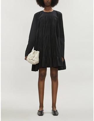 Merlette New York Soliman long-sleeved cotton-poplin mini dress