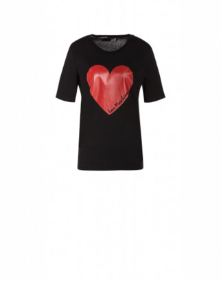 Love Moschino Jersey T-shirt With Heart Woman Black Size 38 It - (4 Us)