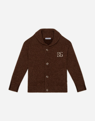 Dolce & Gabbana Cashmere And Wool Cardigan With Patch