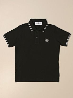 Stone Island Junior Polo Shirt In Pique Cotton