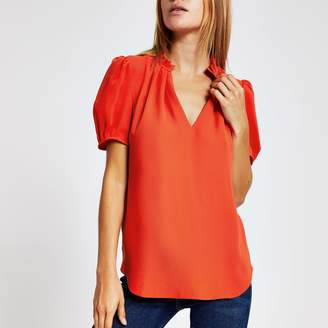 River Island Womens Red V neck shell top