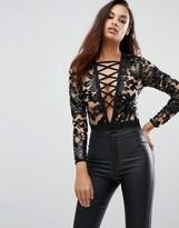 Rare London Limited Edition Mesh Embellished Bodysuit
