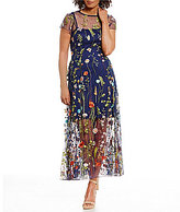 Eva Franco Floral Embroidered Illusion Hem Maxi Dress