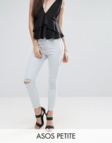 Asos RIVINGTON High Waisted Denim Jegging in Georgia Vintage Lightwash with Two Ripped Knees