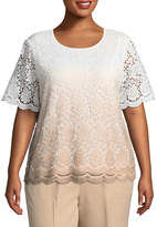 Alfred Dunner La Dolce Vita Ombre Lace Sweater- Plus