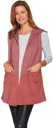 Logo By Lori Goldstein LOGO Lounge by Lori Goldstein French Terry and Suede Open Front Vest