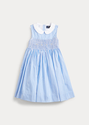 Ralph Lauren Striped Smocked Cotton Dress