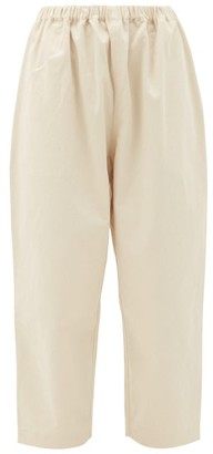LAUREN MANOOGIAN Cropped Cotton-blend Gabardine Chinos - Womens - Ivory