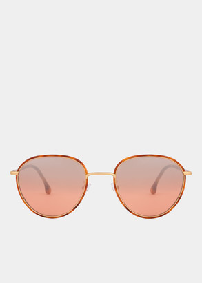 Paul Smith Honey Turtle And Matte Gold 'Albion' Sunglasses