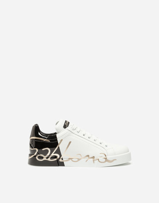 Dolce & Gabbana Portofino Sneakers With Patent Leather Heel