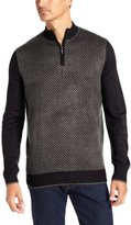 Geoffrey Beene Men's Mock Neck Birdseye Half-Zip Sweater