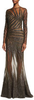 Elie Saab Long-Sleeve Palm-Embroidered Gown, Black