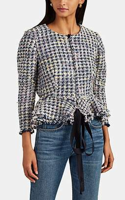 Brock Collection Women's Frayed Bouclé Tweed Peplum Jacket - Blue