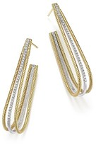 Meira T 14K Yellow and White Gold Elongated Open Hoop Earrings with Diamonds