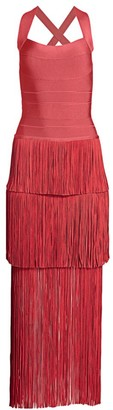 Herve Leger Icon Fringe Maxi Dress