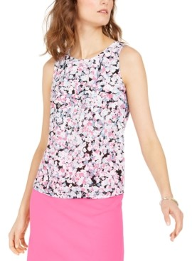Nine West Floral-Print Pleated-Neck Top