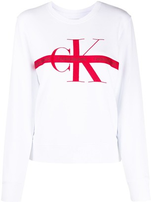 Calvin Klein Jeans Logo-Tape Embroidered Sweatshirt