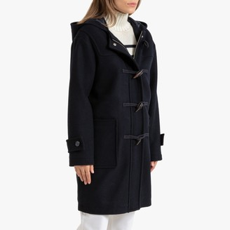 La Redoute Collections Wool Mix Duffle Coat with Hood and Pockets