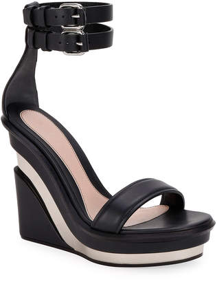 Alexander McQueen Metal Rib Strappy Wedge Sandals