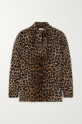 Saint Laurent Pussy-bow Leopard-print Silk Crepe De Chine Shirt - Brown