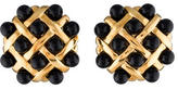 Chanel Quilted Onyx Clip-On Earrings