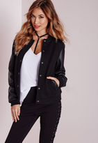 Missguided Faux Leather Sleeve Bomber Jacket Black