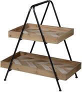 A&B Home Chevron Two-Tier Wood Tray