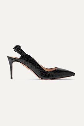 Aquazzura Yale 75 Croc-effect Leather Slingback Pumps - Black