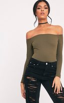 PrettyLittleThing Lilith Khaki Ribbed Bardot Bodysuit