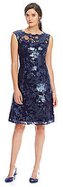 Adrianna Papell Cap Sleeve Sequin Lace Fit-and-Flare Dress