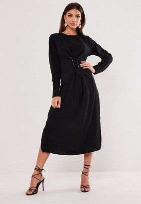 Missguided Black Corset Front Midi Dress