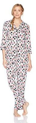 Mae Amazon Brand Women's Sleepwear Printed 3/4 Sleeve Notch Collar Pajama Set