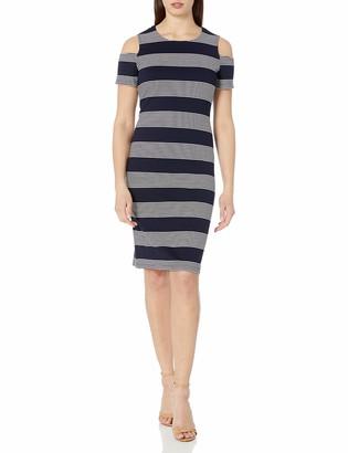 Ronni Nicole Women's Textured Cold Shoulder Stripe Navy/White 6