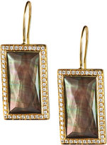 Ippolita 18k Gold Gelato Small Baguette Black Shell Earrings with Diamonds