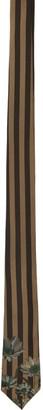Fendi Brown and Green Flower Stripe Tie