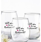 Kate Aspen Set of 4) Will You Be My Bridesmaid Pink Heart 15 Oz. Stemless Wine Glass