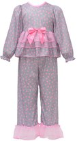 Laura Dare Little Girls Grey Pink Heart Print Long Sleeve 2 Pc Pajama Set