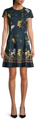 Ted Baker Floral-Print Mini Skater Dress