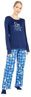 Hue Dog Mama Knit PJ Set with Socks (Medieval) Women's Pajama Sets
