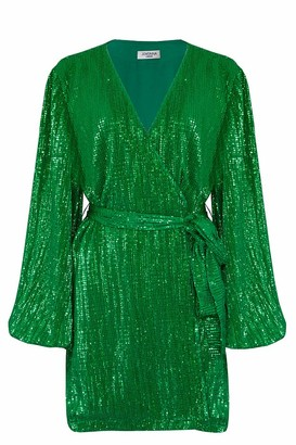 Jovonna London Theodorella Wrap Up Dress - 2 COLOURS OPTION - S | green - Black/Green/Black