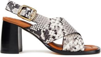 Joseph Fadham Snake-effect Leather Slingback Sandals