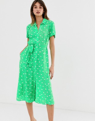 2nd Day Limelight Anemone floral print midi shirt dress