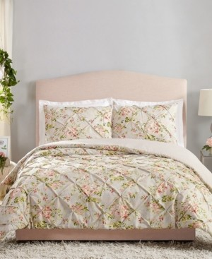 Jessica Simpson Mils Floral Pinch Pleat King 3-Piece Comforter Set