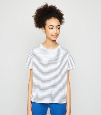 New Look Girls Stripe Positive Slogan T-Shirt