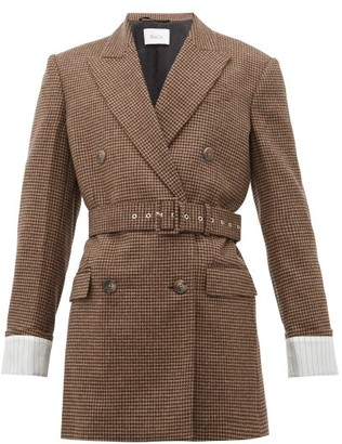 Racil Farrah Belted Wool-houndstooth Jacket - Womens - Brown